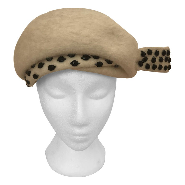 1950s Elsa Schiaparelli Fur Felt Hat For Sale