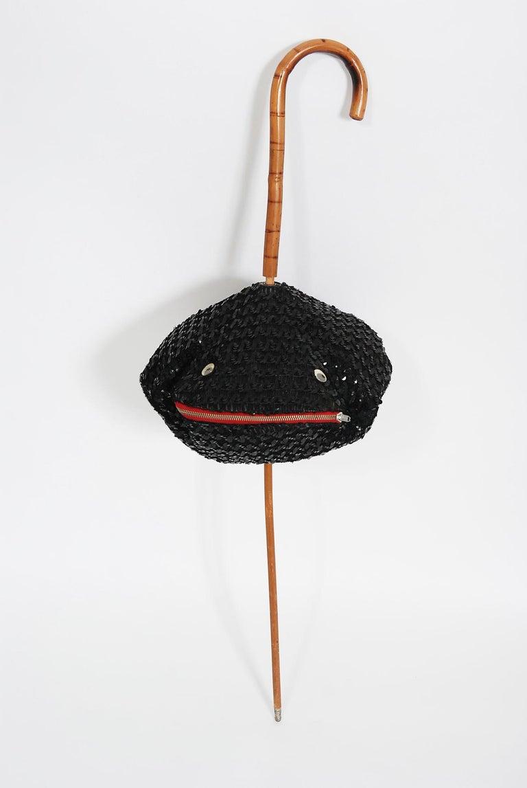 1950's Elsa Schiaparelli Novelty Sequin Blowfish Bamboo Walking Stick Cane Purse For Sale 9