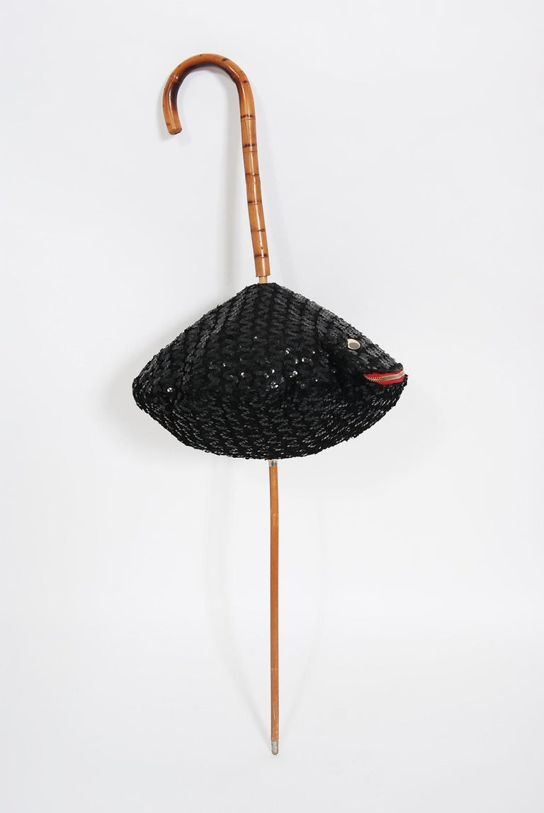 1950's Elsa Schiaparelli Novelty Sequin Blowfish Bamboo Walking Stick Cane Purse For Sale 10