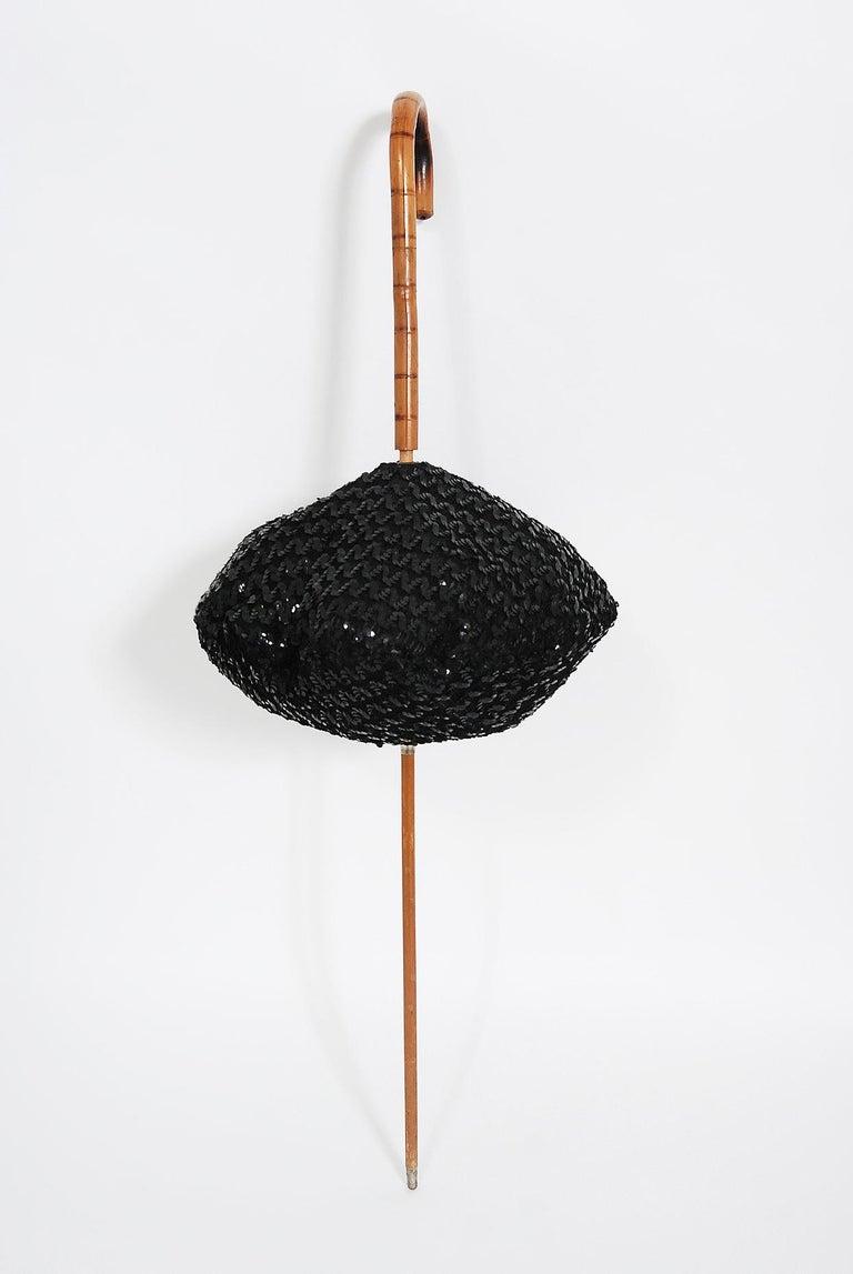 1950's Elsa Schiaparelli Novelty Sequin Blowfish Bamboo Walking Stick Cane Purse For Sale 12