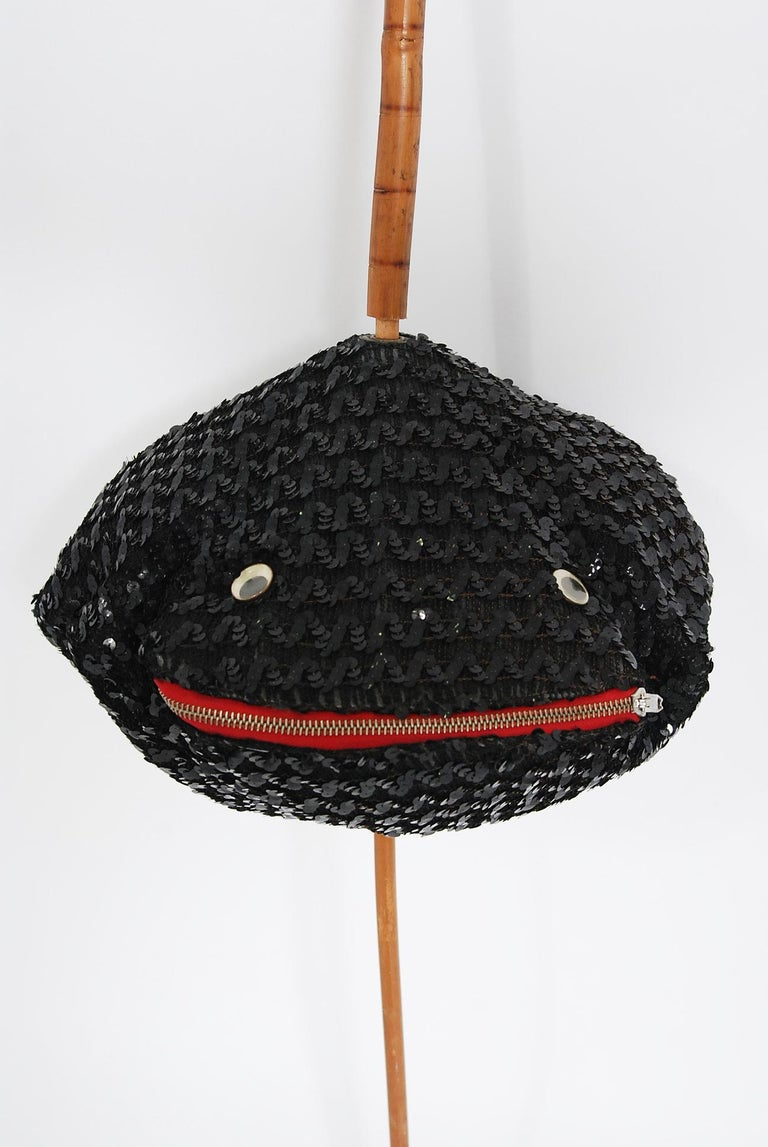 1950's Elsa Schiaparelli Novelty Sequin Blowfish Bamboo Walking Stick Cane Purse In Good Condition For Sale In Beverly Hills, CA
