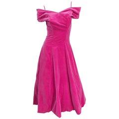 1950s Elsa Schiaparelli Shocking Pink Velvet Off the Shoulder Vintage 50s Dress