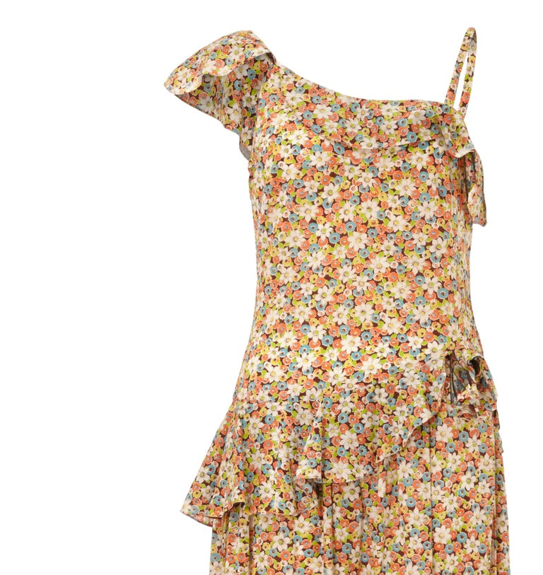 Brown 1950s Elysian Floral Cotton Dress With Asymmetrical Neckline and Peplum