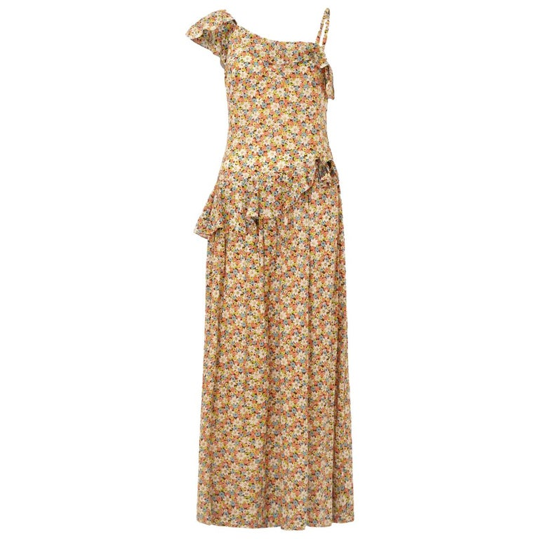 1950s Elysian Floral Cotton Dress With Asymmetrical Neckline and Peplum