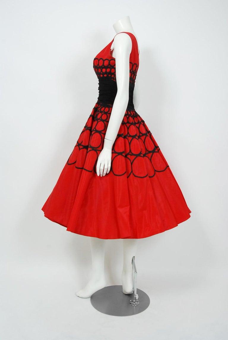 Vintage 1950's Embroidered Red Taffeta Black Wool Cummerbund Circle-Skirt Dress For Sale 2
