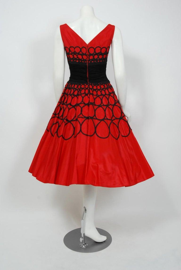 Vintage 1950's Embroidered Red Taffeta Black Wool Cummerbund Circle-Skirt Dress For Sale 3