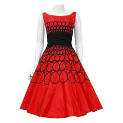 1950's Embroidered Red Taffeta & Black Wool Cummerbund Circle-Skirt Party Dress