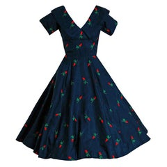1950's Embroidered Roses Navy Silk Shelf-Bust Full New Look Dress