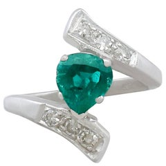 1950s Emerald and Diamond Platinum Cocktail Ring