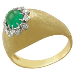 1950s Emerald Diamond Yellow Gold Cocktail Ring