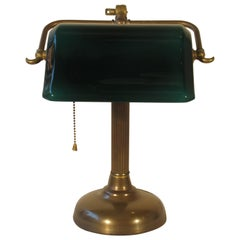 1950s Emerald Glass and Brass Desk Lamp