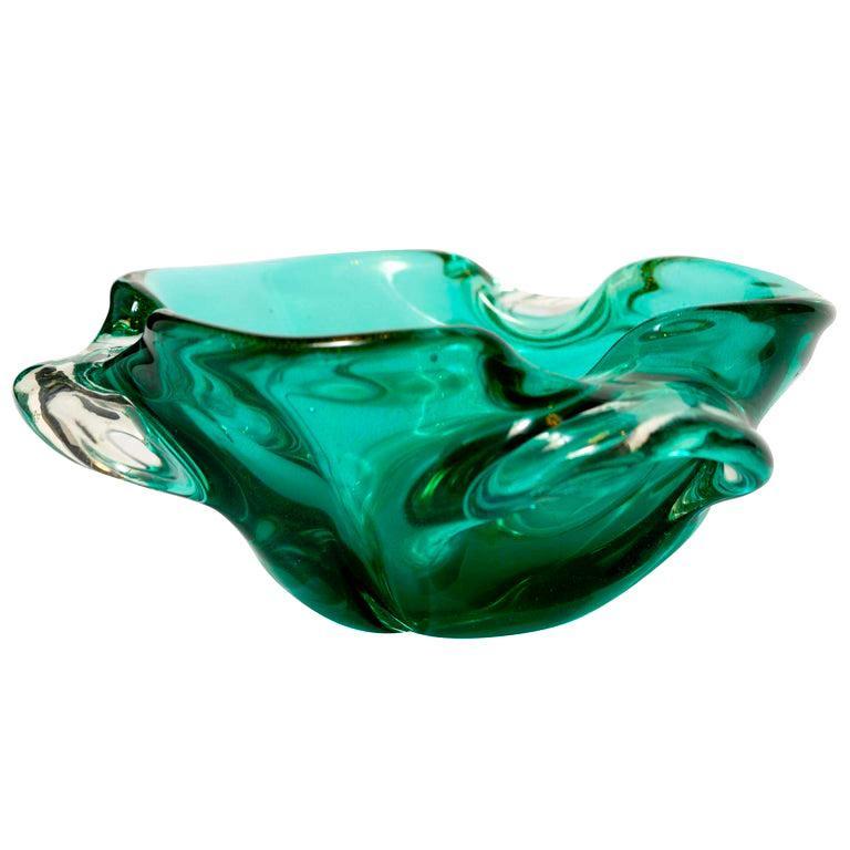Art Glass 1950s Emerald Green Murano Glass Organic Bowl by Seguso, Italy