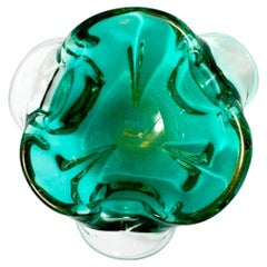 1950s Emerald Green Murano Glass Organic Bowl by Seguso, Italy
