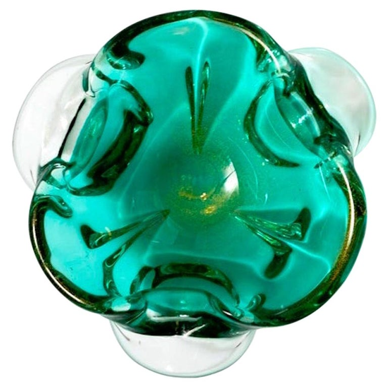 1950s Emerald Green Murano Glass Organic Bowl by Seguso, Italy For Sale