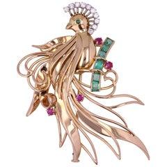 1950s Emerald Ruby Diamonds 18 Karat Yellow Gold Bird of Paradise
