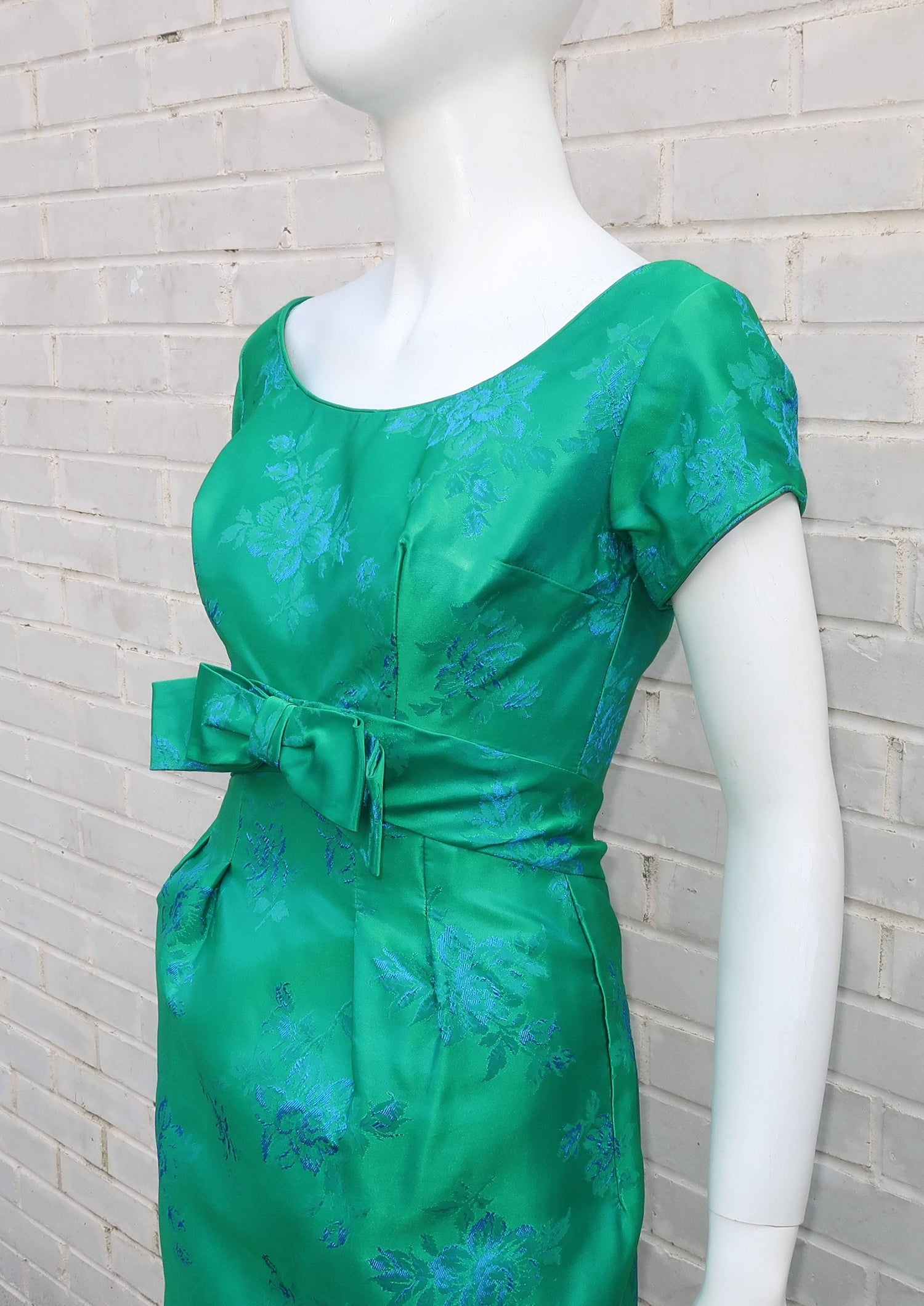 Emma Domb Blue and Green Party Dress, 1950s For Sale at 1stdibs