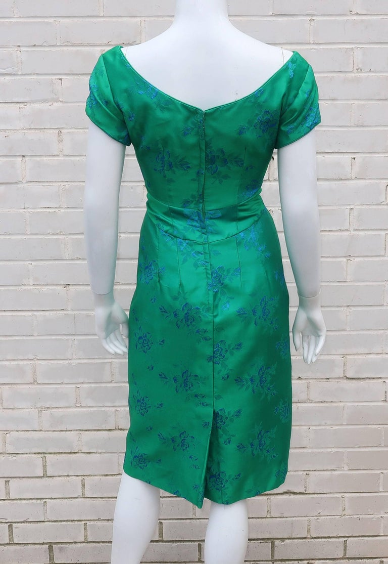 Emma Domb Blue And Green Party Dress 1950s For Sale At