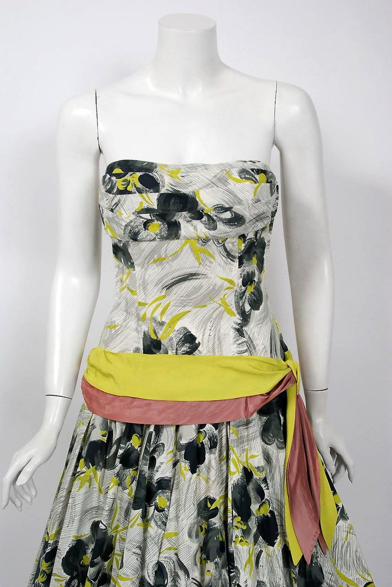 With its stunning grey chartreuse watercolor floral print cotton and flawless