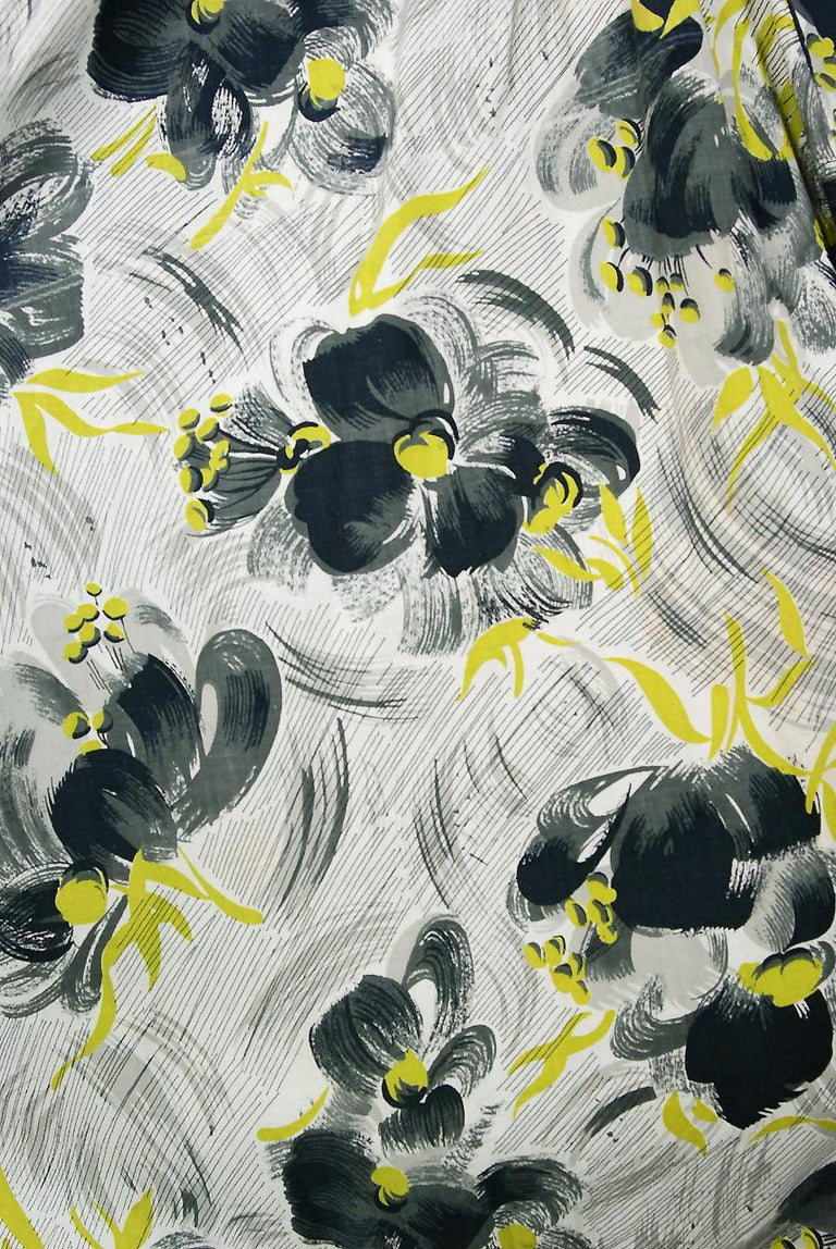 Vintage 1950's Emma Domb Grey Chartreuse Floral Print Cotton Strapless Dress For Sale 1