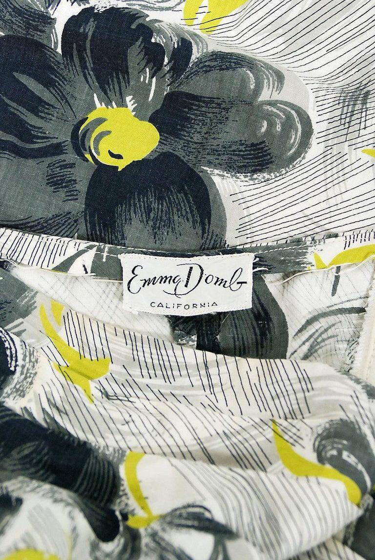 Vintage 1950's Emma Domb Grey Chartreuse Floral Print Cotton Strapless Dress For Sale 3