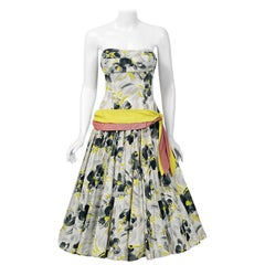 1950's Emma Domb Grey Chartreuse Floral Print Cotton Strapless Sash Dress