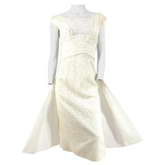 1950s Emma Domb Off-white Lace Dress with Taffeta Waist and Draped back