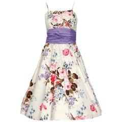 1950's Emma Domb Rose Garden Floral Print Sequin Cotton Full-Skirt Dress