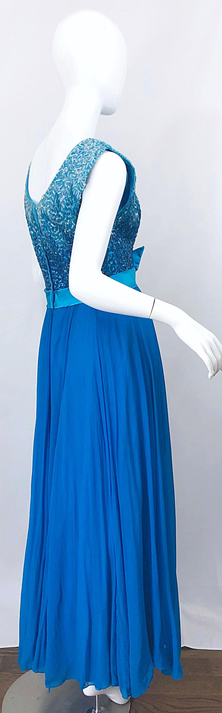 1950s Emma Domb Turquoise Blue Ombre Sequined Silk Chiffon Vintage 50s Gown For Sale 6