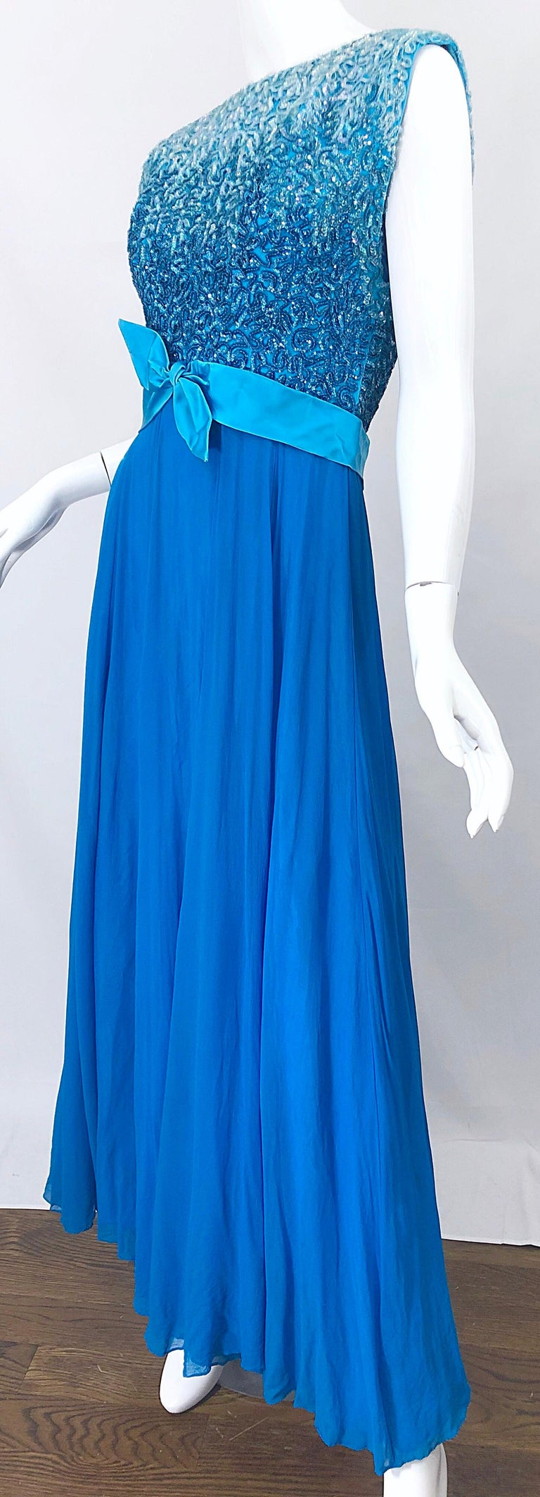 1950s Emma Domb Turquoise Blue Ombre Sequined Silk Chiffon Vintage 50s Gown For Sale 7