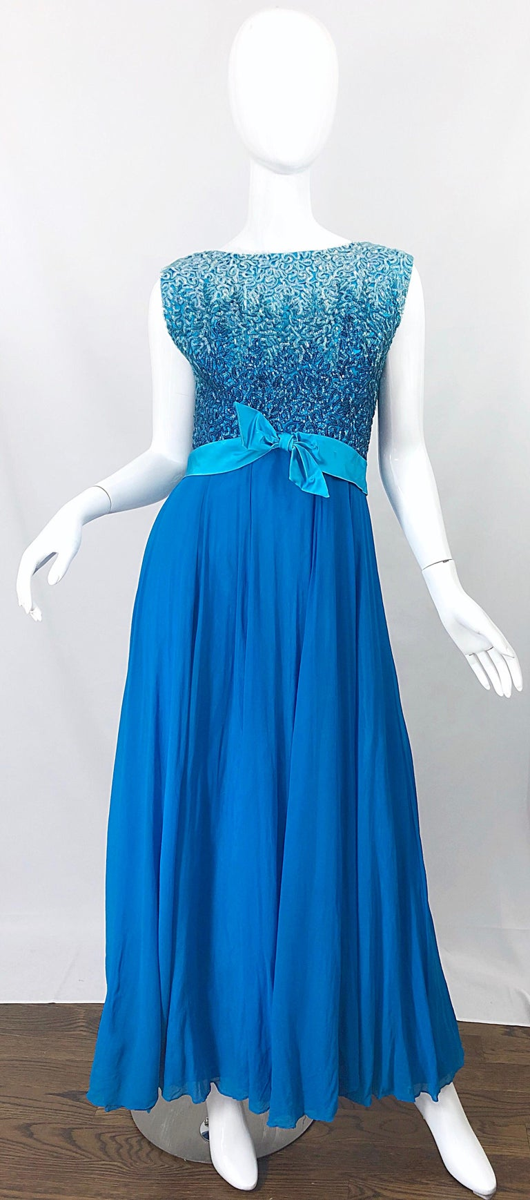1950s Emma Domb Turquoise Blue Ombre Sequined Silk Chiffon Vintage 50s Gown For Sale 8