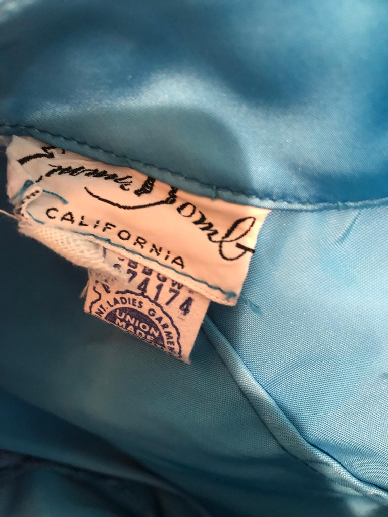 1950s Emma Domb Turquoise Blue Ombre Sequined Silk Chiffon Vintage 50s Gown For Sale 9