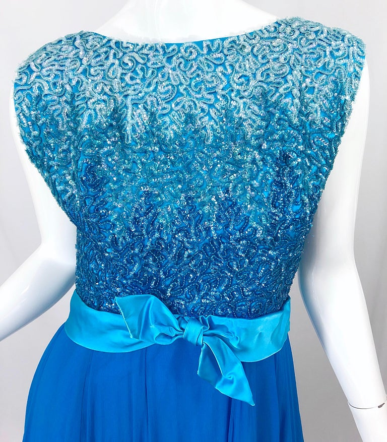 1950s Emma Domb Turquoise Blue Ombre Sequined Silk Chiffon Vintage 50s Gown In Good Condition For Sale In Chicago, IL