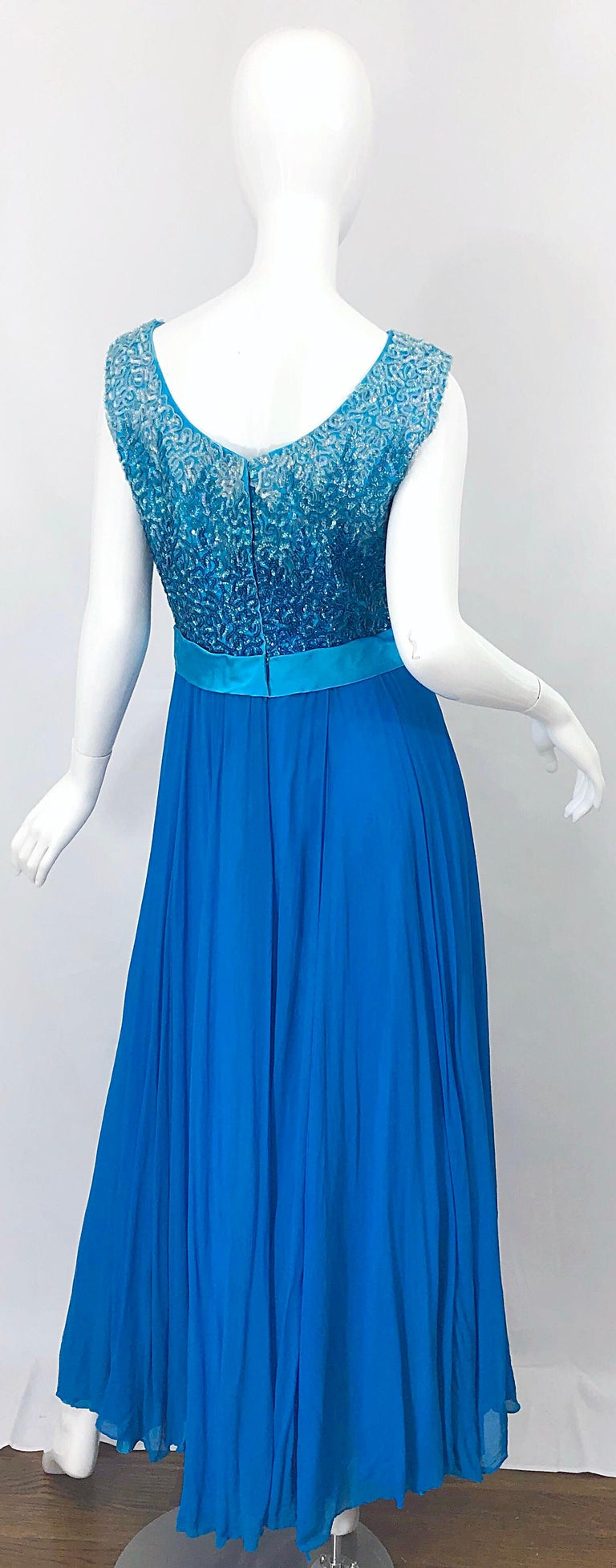Women's 1950s Emma Domb Turquoise Blue Ombre Sequined Silk Chiffon Vintage 50s Gown For Sale