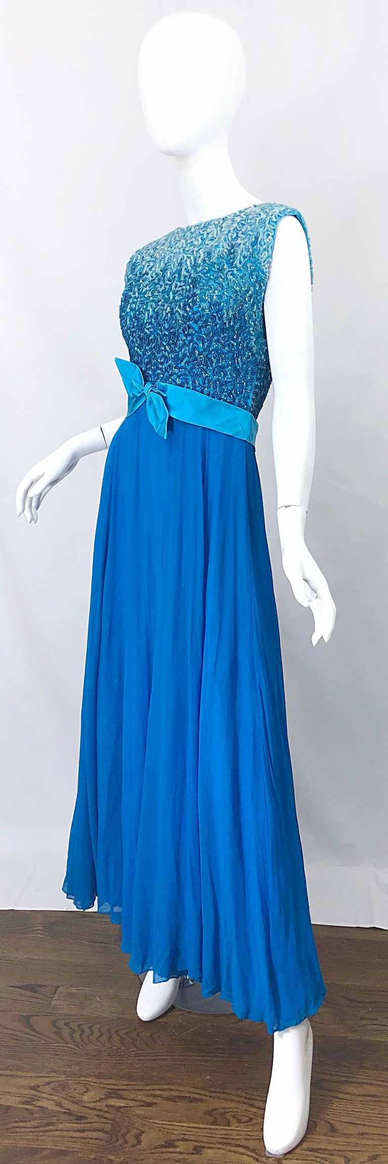 1950s Emma Domb Turquoise Blue Ombre Sequined Silk Chiffon Vintage 50s Gown For Sale 1