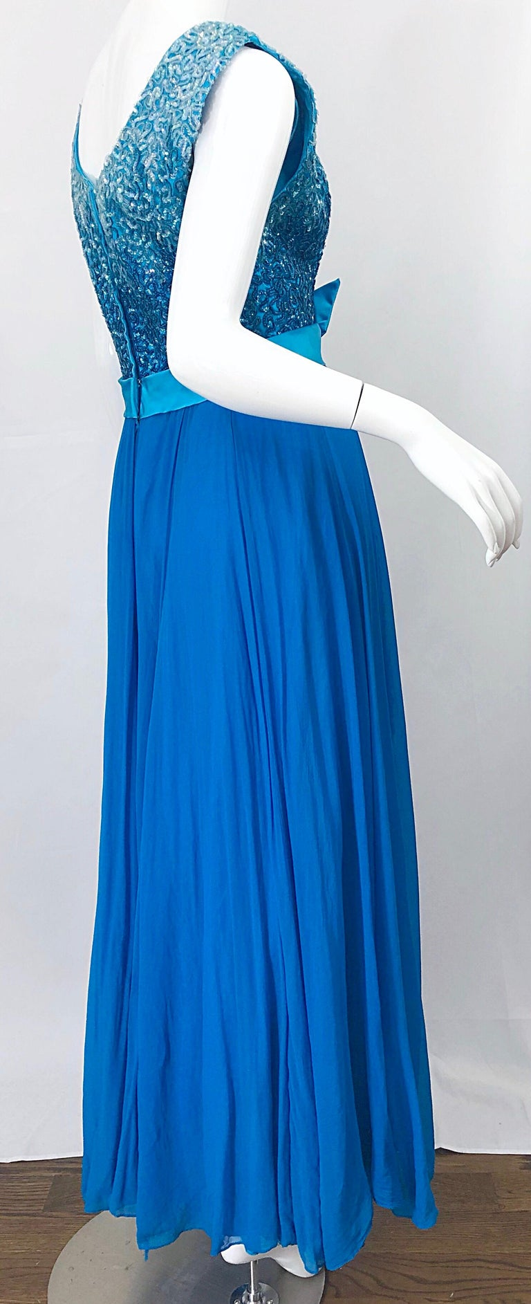 1950s Emma Domb Turquoise Blue Ombre Sequined Silk Chiffon Vintage 50s Gown For Sale 2