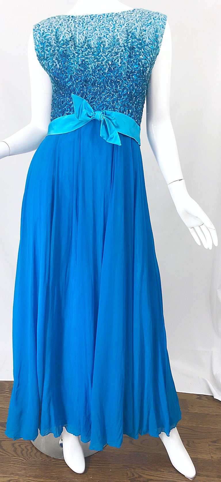 1950s Emma Domb Turquoise Blue Ombre Sequined Silk Chiffon Vintage 50s Gown For Sale 3