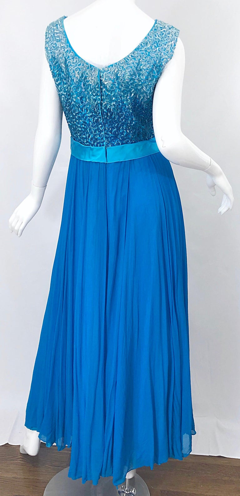 1950s Emma Domb Turquoise Blue Ombre Sequined Silk Chiffon Vintage 50s Gown For Sale 5