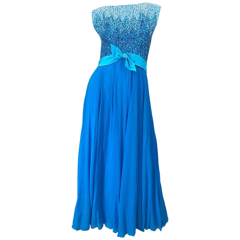 1950s Emma Domb Turquoise Blue Ombre Sequined Silk Chiffon Vintage 50s Gown For Sale