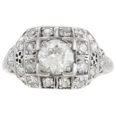 1950s Engagement Ring with Center Diamond 0.75 Carat