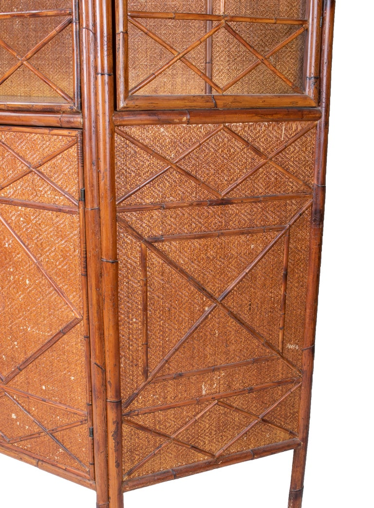 1950s English Bamboo and Rattan Glass Cabinet For Sale 6