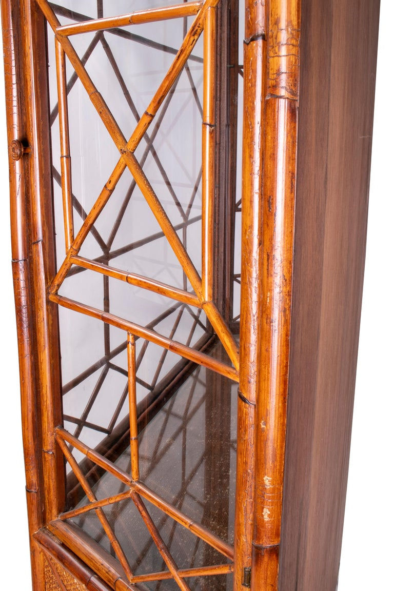 1950s English Bamboo and Rattan Glass Cabinet For Sale 8