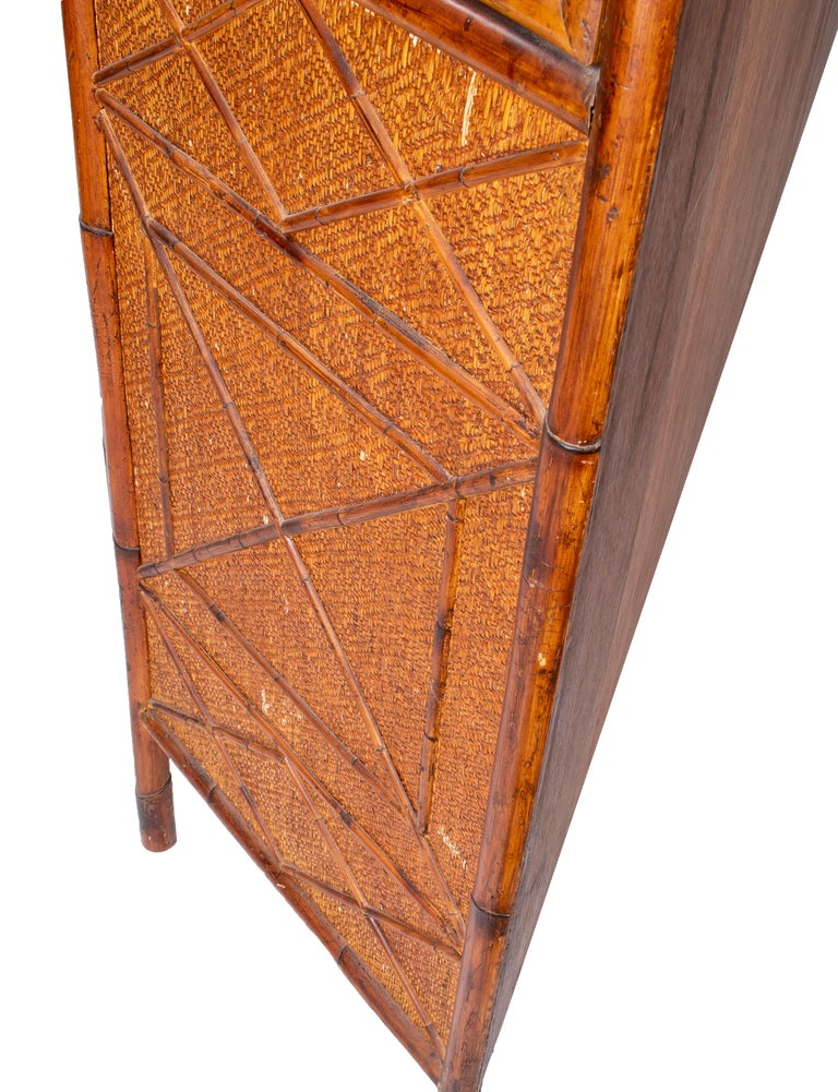 1950s English Bamboo and Rattan Glass Cabinet For Sale 9