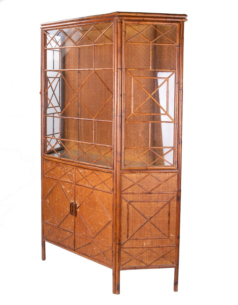 20th Century 1950s English Bamboo and Rattan Glass Cabinet For Sale