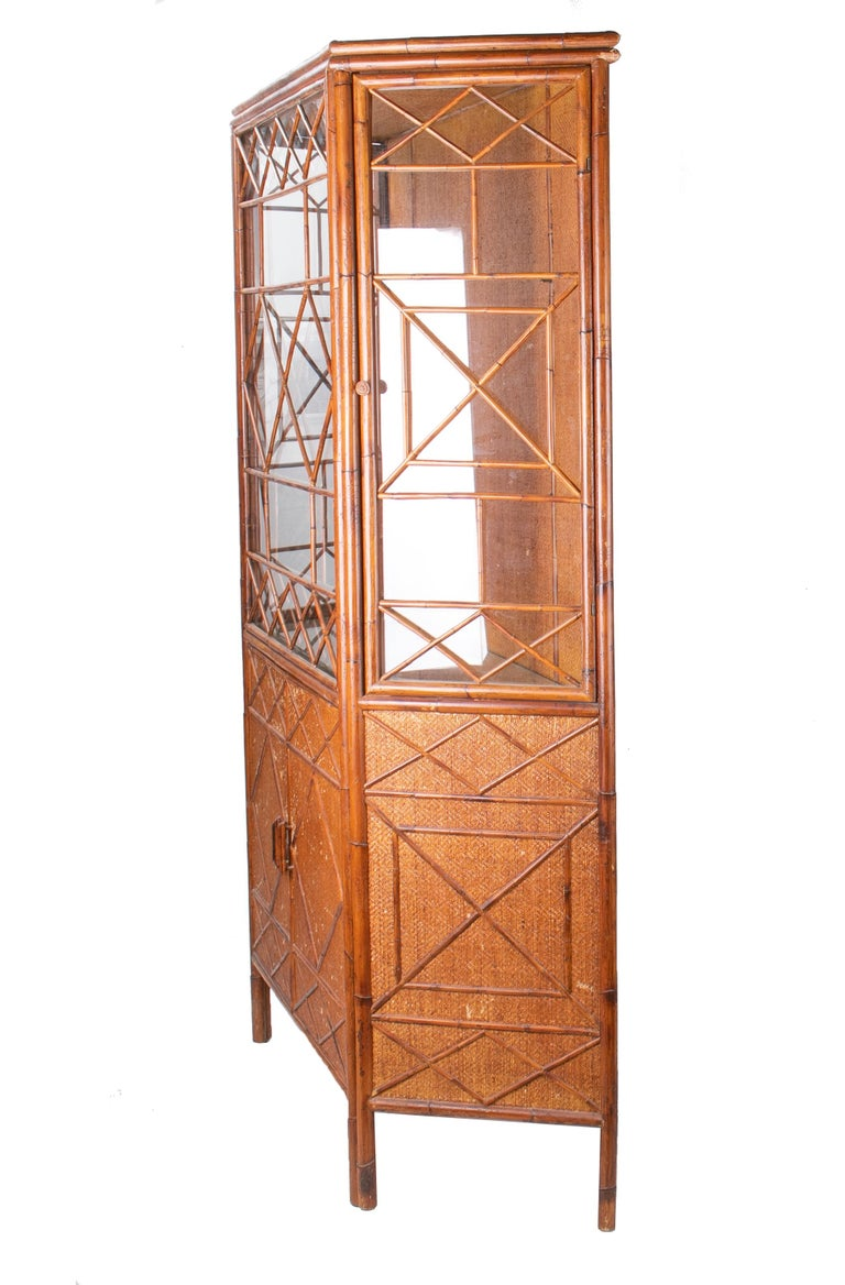 1950s English Bamboo and Rattan Glass Cabinet For Sale 1