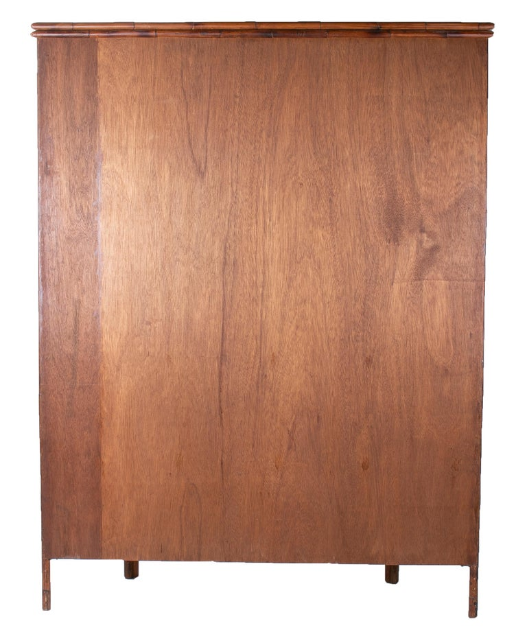 1950s English Bamboo and Rattan Glass Cabinet For Sale 3