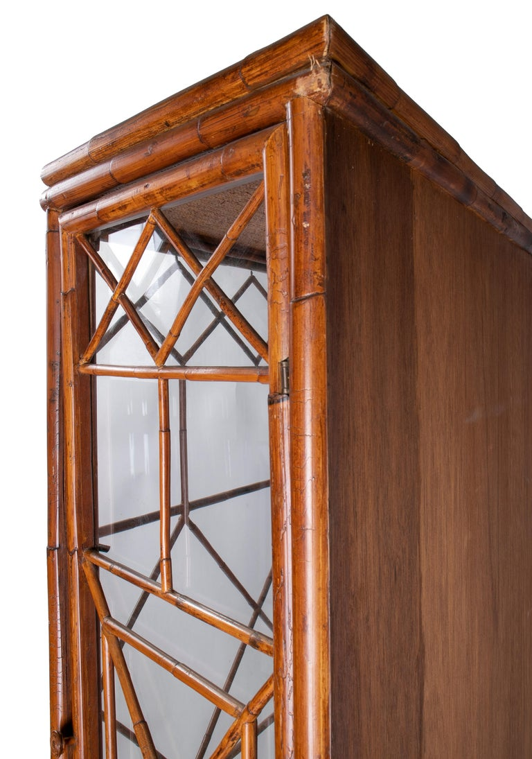 1950s English Bamboo and Rattan Glass Cabinet For Sale 4