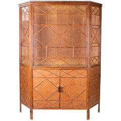 1950s English Bamboo and Rattan Glass Cabinet