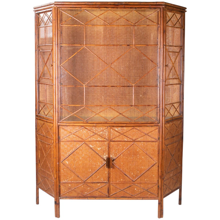 1950s English Bamboo and Rattan Glass Cabinet For Sale