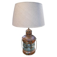 1950s English Bronze and Glass Ship Table Lamp with Shade