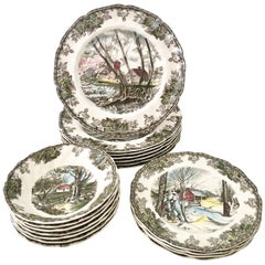 "1950'S English Dinnerware ""Friendly Village"" S/17 By, Johnson Brothers"